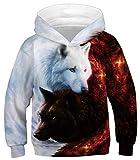 Ocean Plus Niños Sudaderas con Capucha Cool Pullover para Niños Niñas Adolescente Camiseta de Manga Larga (M (Altura: 135-140cm), Ángel y Diablo Doble Lobo)