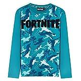 Fortnite Camisetas Niño De Manga Larga, Ropa para Gamers De Algodón con Originales Estampados, Regalos para Niños y Adolescentes 7-14 Años (Camo Azul, 7-8 años, 7_Years)