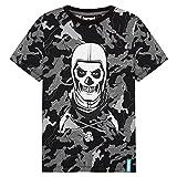 Fortnite Camiseta Niño De Manga Corta, Camiseta De Algodón con Estampado De Camuflaje, Ropa Gamer con Skull Trooper, Regalos para Niños 7-14 Años (Nero, 11-12 años)